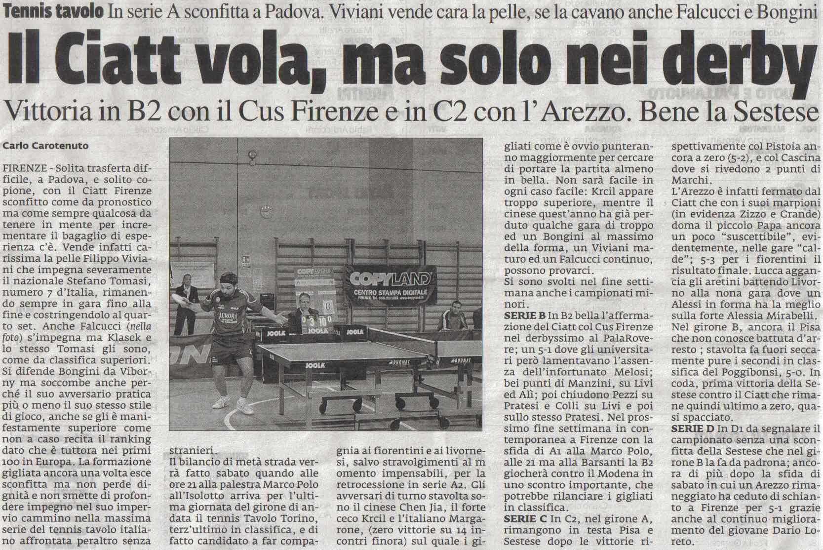 Articoli 2008 ssd ciatt firenze - Forum tennis tavolo toscano ...