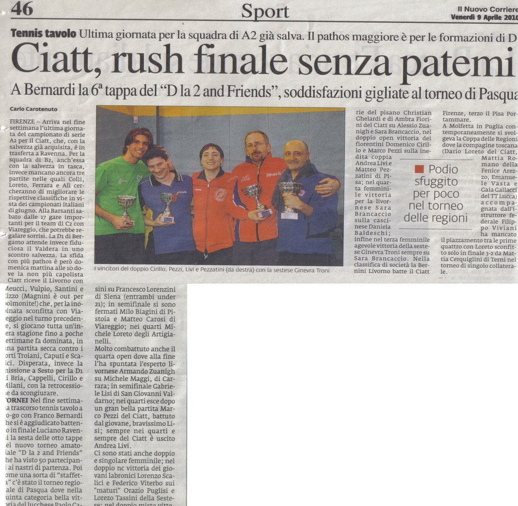 Articoli 2010 ssd ciatt firenze - Forum tennis tavolo toscano ...